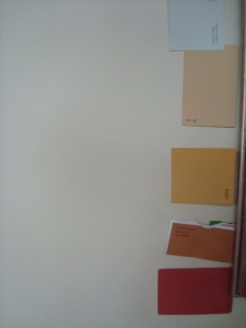 Colour samples taped onto wall