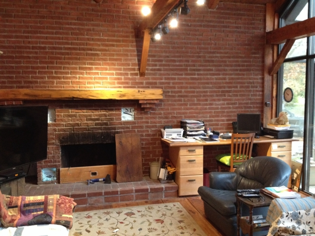 family room brick wall