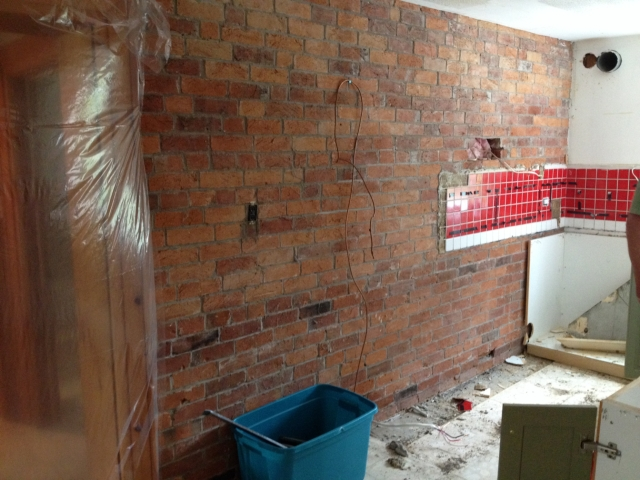 kitchen brick wall